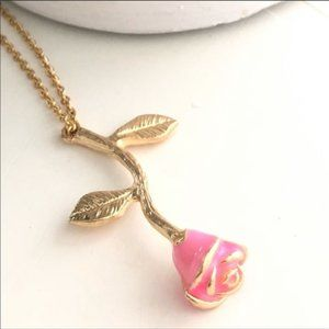Jewelry - NEW! CUTE PINK ROSE FLOWER PENDANT GOLD NECKLACE